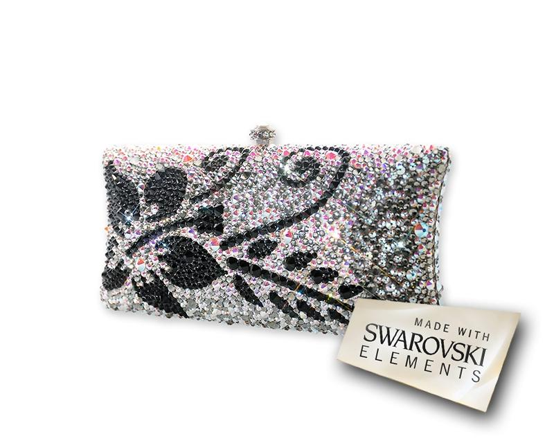 Antique Flower Bling Crystal Clutch Bag