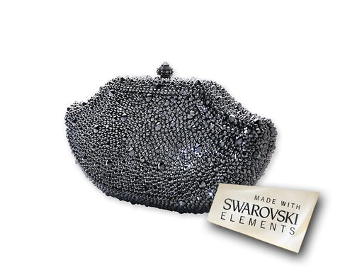 Dazzling Bling Crystal Clutch Bag - Black 17.5cm