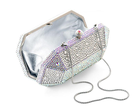 Starring Bling Crystal Clutch Bag - White 15.5cm