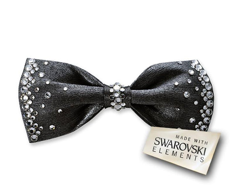 Men's Wedding Bow Tie with Swarovski Crystal - Dark Gray