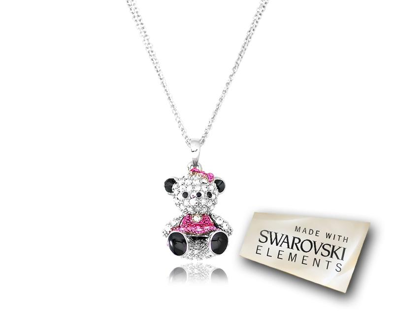 2.5cm Swarovski Crystal Teddy with Dress Pendant Necklace - Magenta