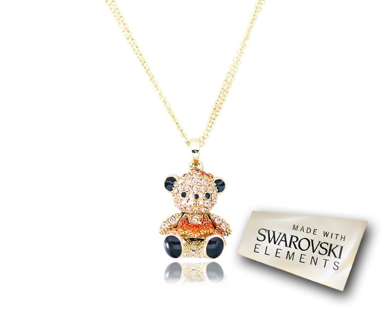 2.5cm Swarovski Crystal Teddy with Dress Pendant Necklace - Orange