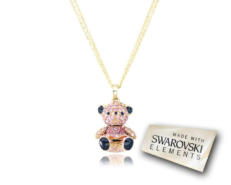 2.5cm Swarovski Crystal Teddy with Dress Pendant Necklace - Pink