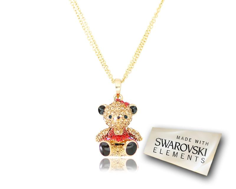 2.5cm Swarovski Crystal Teddy with Dress Pendant Necklace - Red