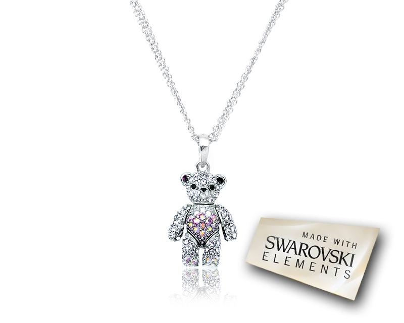 2cm Swarovski Crystal Bear Pendant Necklace - Purple
