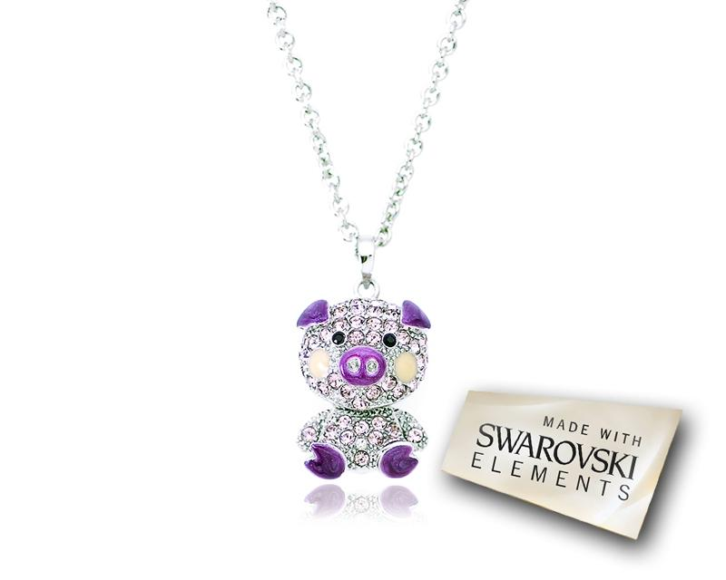 2.5cm Swarovski Crystal Piggy Pendant Necklace - Purple