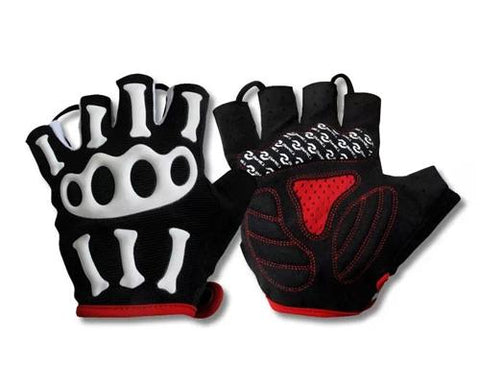 Skull Pattern Outdoor Sports Gloves Breathable Cycling Fingerless Gloves