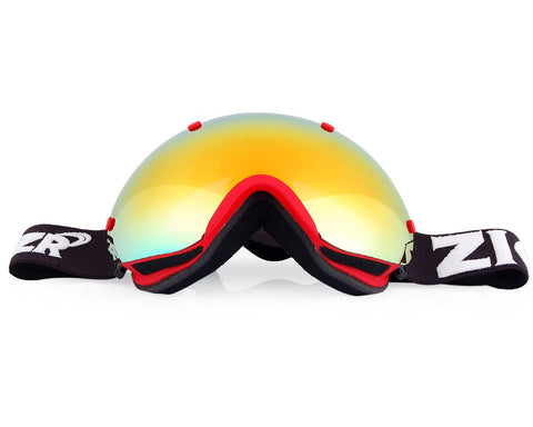 Bold Series Ski Goggles with Detachable Lens and Strap - Red