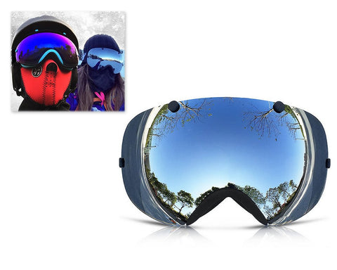 Bold Series Ski Goggles with Detachable Lens and Strap - Silver
