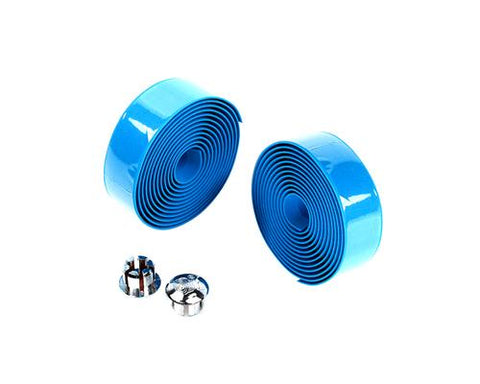 Simple Cycling Bike Handlebar Tape Wrap with 2 Bar Plug - Blue