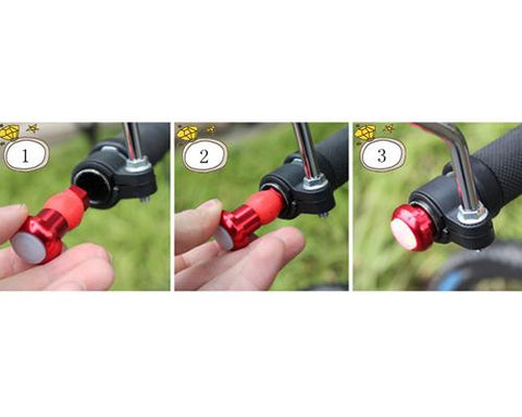 2 Pcs Cycling Bicycle Handlebar End LED Safety Plug Light - Gold