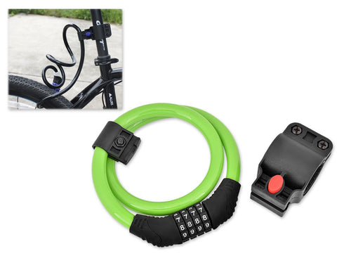 2 Feet Bicycle Resettable Combination Spiral Cable Lock - Green
