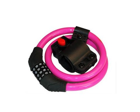 2 Feet Bicycle Resettable Combination Spiral Cable Lock - Magenta