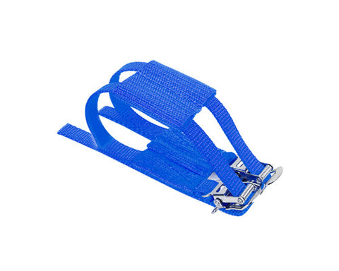 1 Pc Cycling Track Fixie Bike Pedals Nylon Double Toe Straps - Blue
