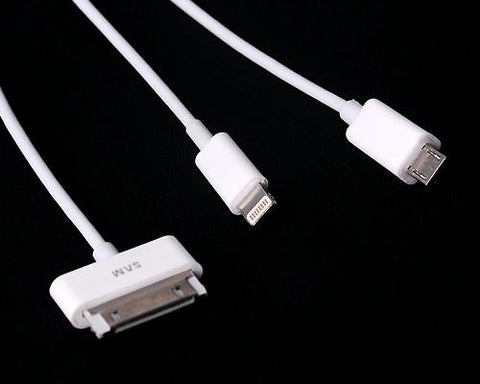 80cm 3 in 1 Charging Cable with Lightning, Micro USB and Apple 30-pin