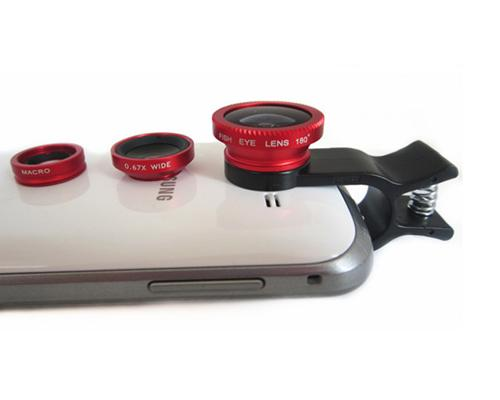 3 in 1 Universal Fisheye /Wide Angle/Macro Lens Clip Camera Kit - Red