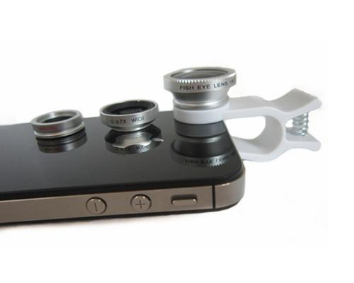 3 in 1 Universal Fisheye /Wide Angle/Macro Lens Clip Camera Kit-Silver
