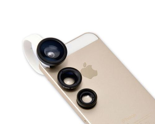 3-in-1 180 Degree Wide Angle Fish Macro Eye Lens for Smartphone -Black