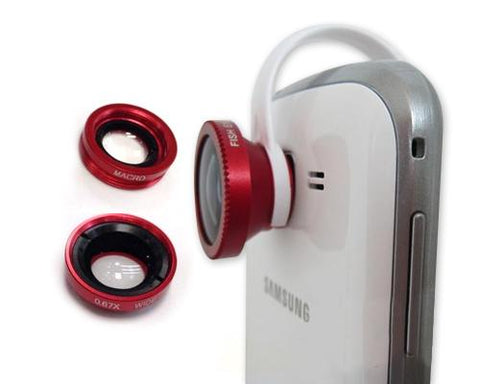 3-in-1 180 Degree Wide Angle Fish Macro Eye Lens for Smartphone - Red