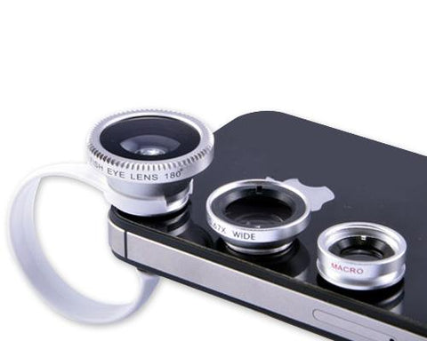 3-in-1 180 Degree Wide Angle Fish Macro Eye Lens for Smartphone-Silver