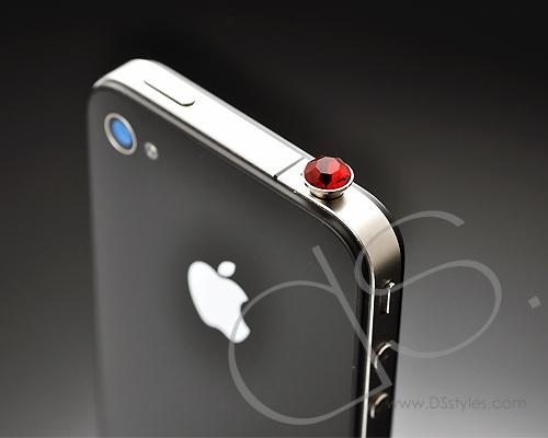 Red Crystal Headphone Jack Plug