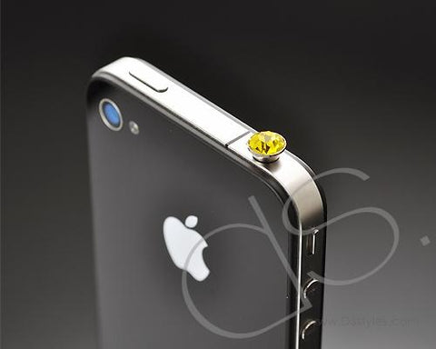 Yellow Crystal Headphone Jack Plug