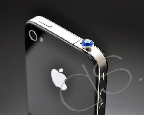 Blue Crystal Headphone Jack Plug