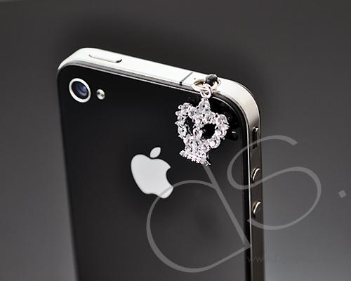 Crystal Headphone Jack Plug - Crown Silver