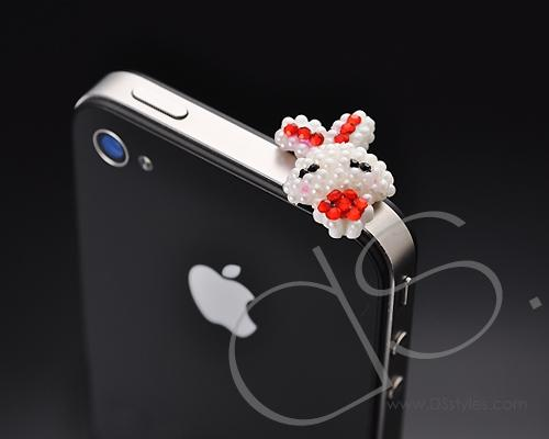 Crystal Headphone Jack Plug - White Rabbit