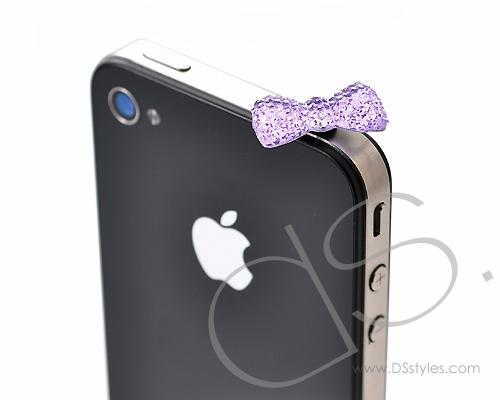 Bow Crystal Headphone Jack Plug - Purple