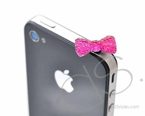 Bow Crystal Headphone Jack Plug - Magenta