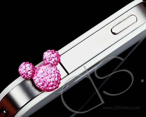 Crystal Bear Headphone Jack Plug -Pink
