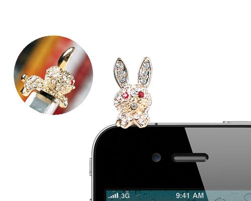 Crystal Animal Headphone Jack Plug - Rabbit