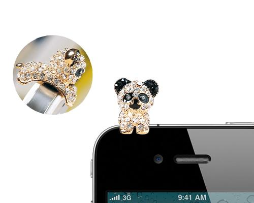 Crystal Animal Headphone Jack Plug - Panda