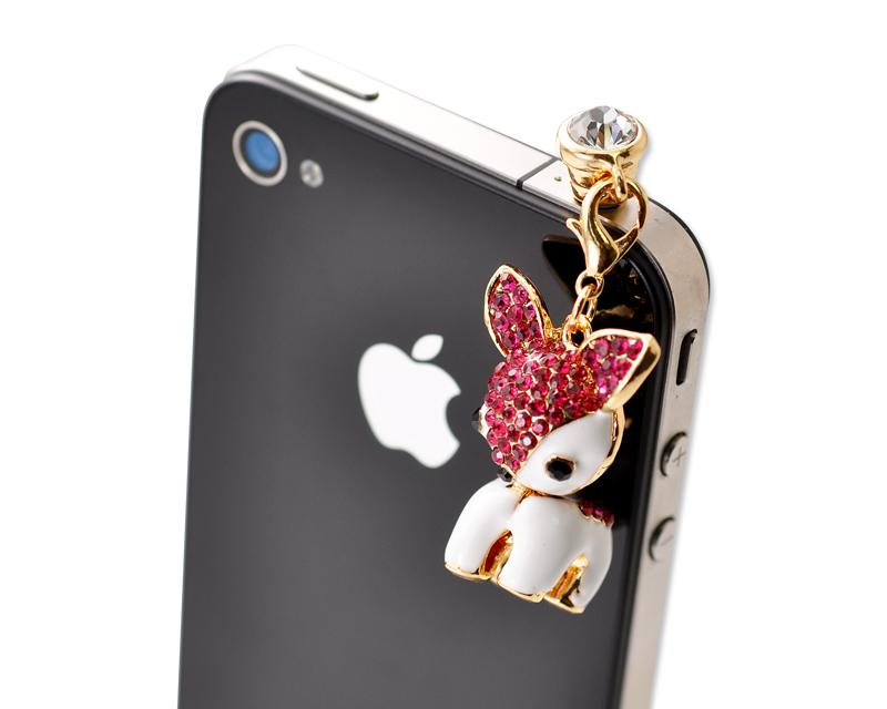 Dangling Animal Crystal Headphone Jack Plug - Deer