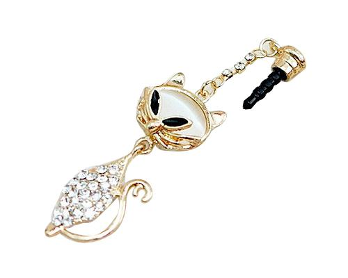 Fox Bling Crystal Headphone Jack Plug - White