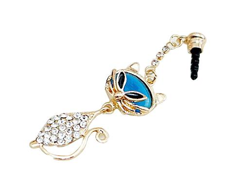Fox Bling Crystal Headphone Jack Plug - Blue