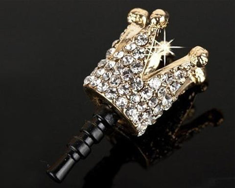Bling Crystal Headphone Jack Plug - Crown