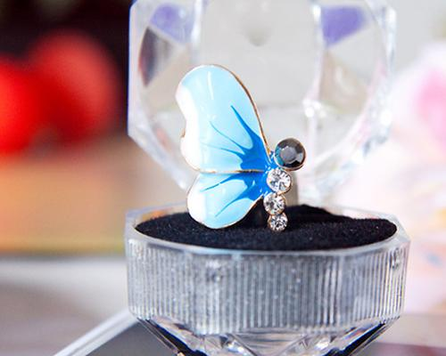 Butterfly Bling Crystal Headphone Jack Plug - Blue