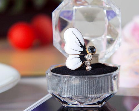 Butterfly Bling Crystal Headphone Jack Plug - White