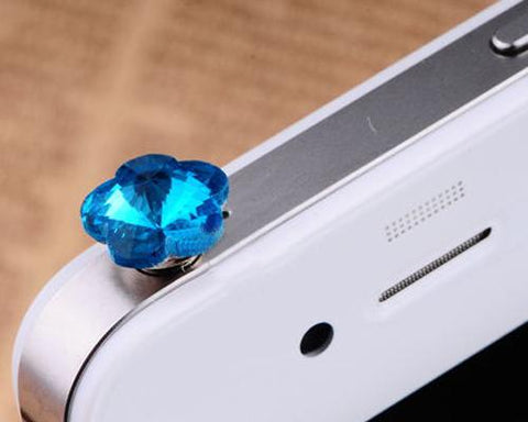Plum Bling Crystal Headphone Jack Plug - Blue