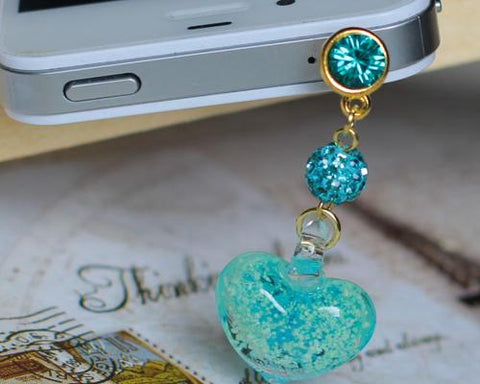 Luminous Heart Crystal Headphone Jack Plug - Ice Blue