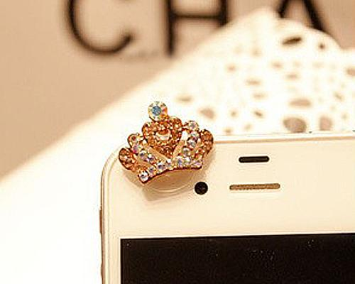 Crown Bling Crystal Headphone Jack Plug - Champagne