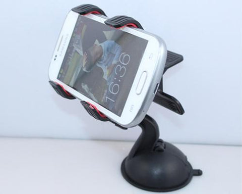 Universal Cellphone Windshield Dashboard Car Mount Holder - Black