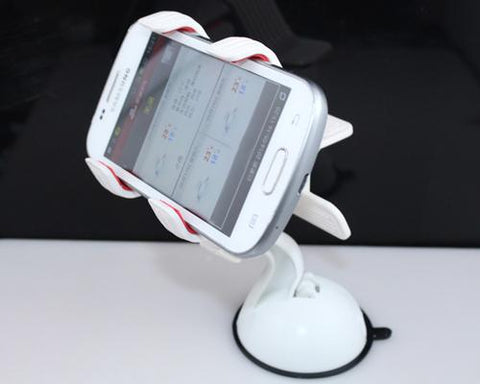 Universal Cellphone Windshield Dashboard Car Mount Holder - White