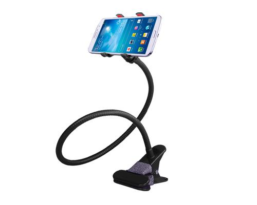 Gooseneck Flexible Dual Clamp Adjustable Cellphone Holder - Black