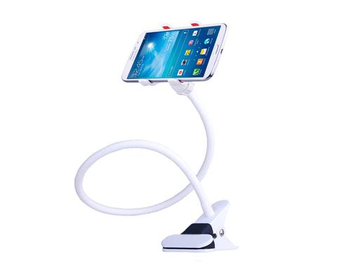 Gooseneck Flexible Dual Clamp Adjustable Cellphone Holder - White