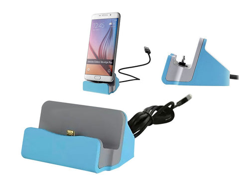 Micro USB Charging and Sync Docking Station for Android - Blue