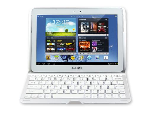 Samsung Galaxy Note 10.1 Aluminum Case with Bluetooth Keyboard - White