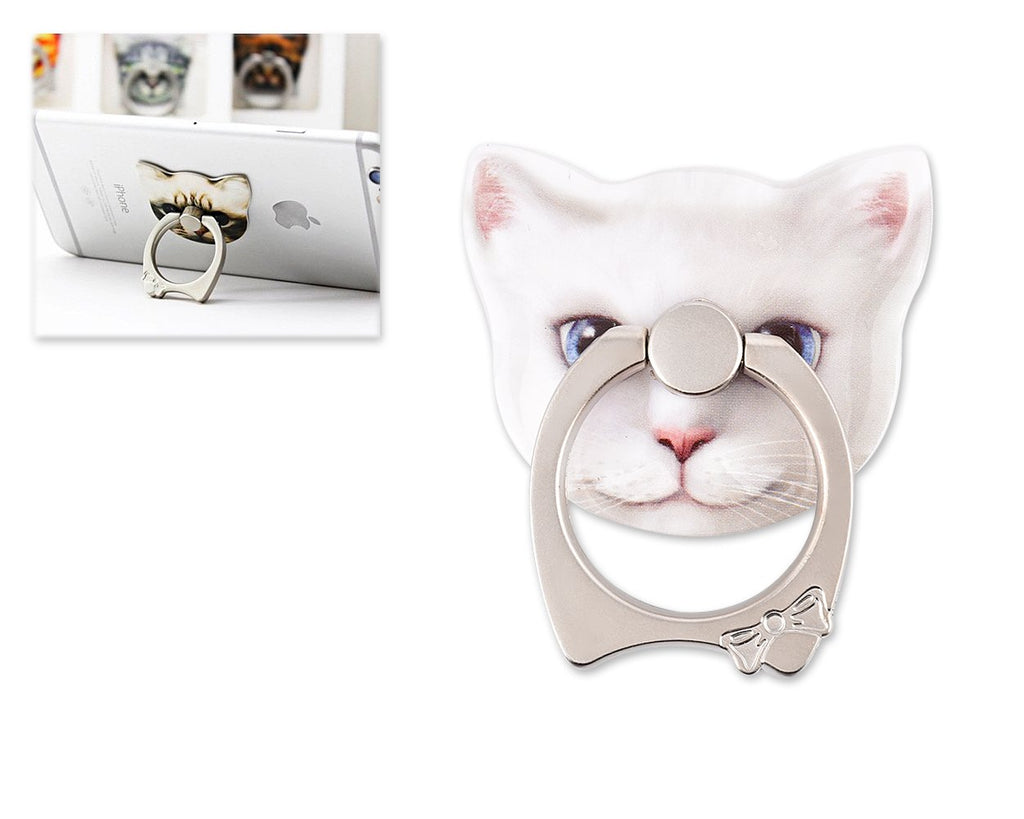Cat Face Series Universal Metal Ring Grip Stand - B